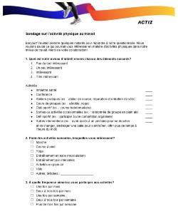 Questionnaire d'intérêt